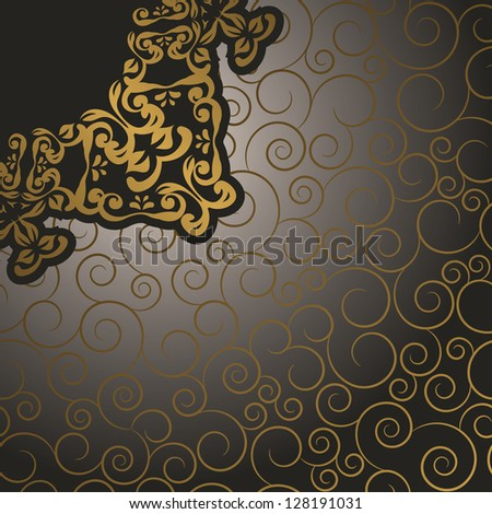 Seamless background with swirls and vintage pattern in retro style - stock vector