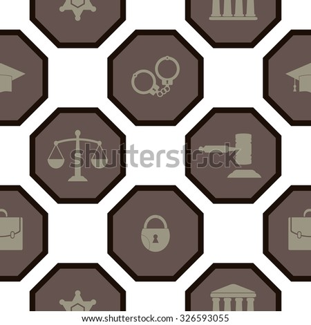Seamless background with symbols of law and courts for your design
