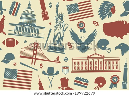 Seamless background with symbols of the USA - stock vector