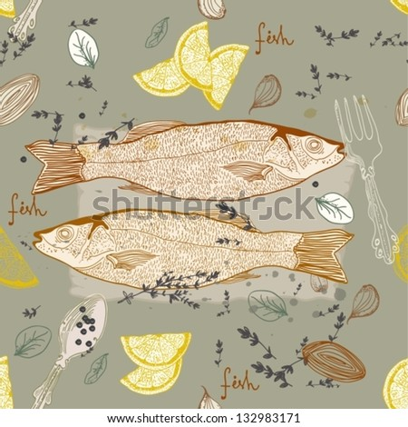 Seamless Background with taste fish dish, vector