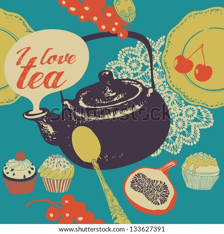 Seamless background with tea and sweets.Vector illustration. - stock vector