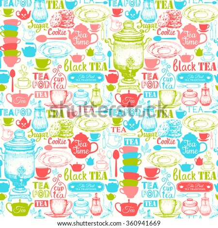 Seamless background with Tea Party symbols. Menu pattern. Vector Illustration with funny drinks lettering and labels on white background. Decorative elements for your packing design. Multicolor decor. - stock vector
