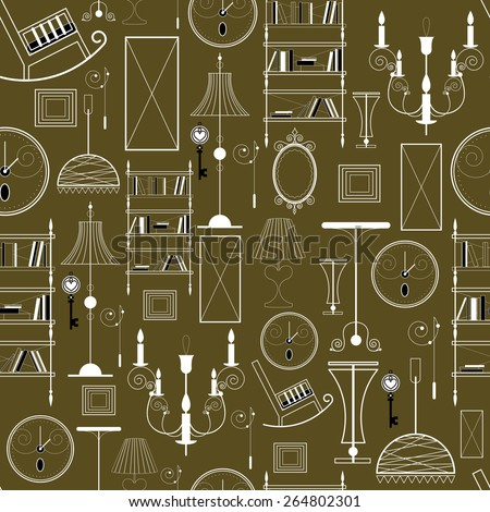 Seamless background with the image of furniture and interior details - stock vector