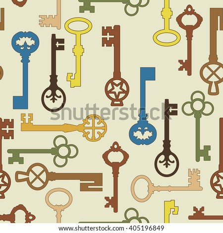 Seamless background with the keys  - stock vector