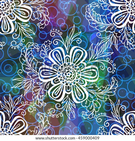 Seamless Background with Tile Contours Floral Pattern, Symbolic Flowers and Leafs and Abstract Ornament. Eps10, Contains Transparencies. Vector - stock vector