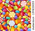 Seamless background with various candies. Vector illustration. - stock