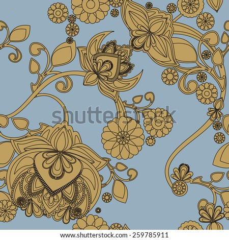 Seamless background with vintage floral pattern - stock vector