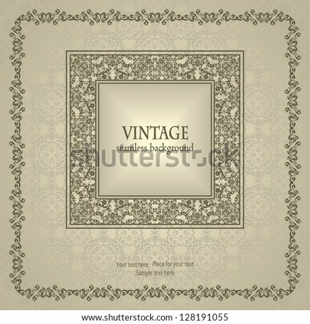 Seamless background with vintage frame in pastel colors. Retro style - stock vector