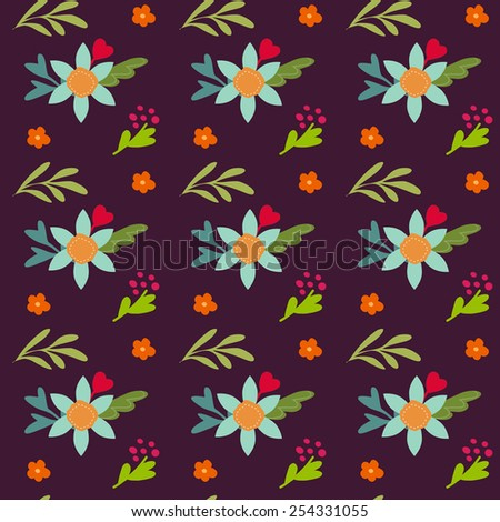 Seamless background with vintage hand drawn flowers  - stock vector