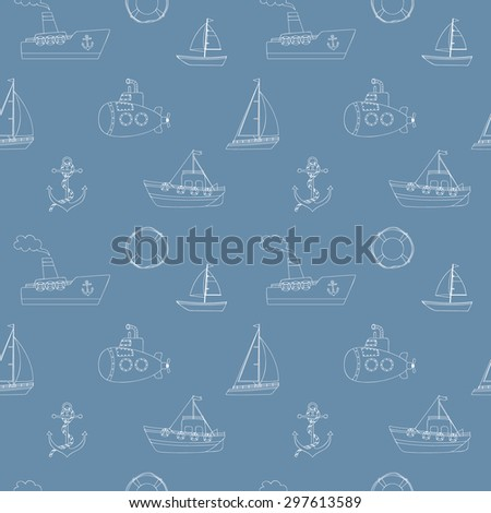 Seamless background with water transport in doodle style - stock vector