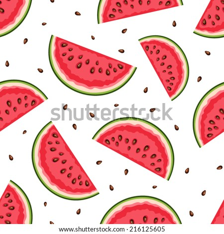 Seamless background with watermelon slices. Vector illustration. - stock vector