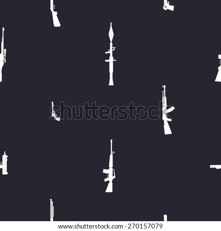 Seamless background with weapons and arms for your design - stock vector