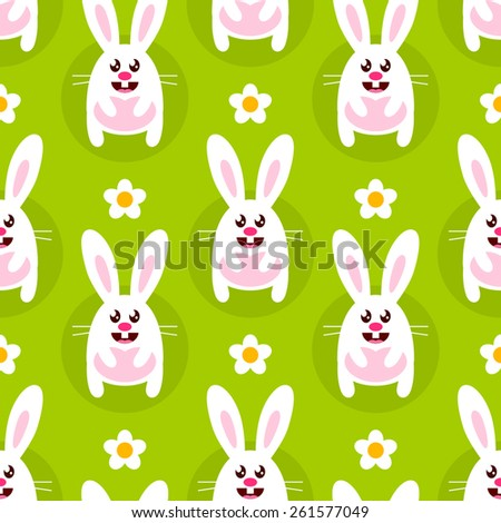 Seamless background with white cartoon bunnies and chamomile - stock vector