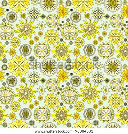 Seamless background with yellow flowers - stock vector