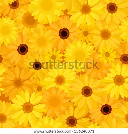 Seamless background with yellow flowers. Vector illustration. - stock vector