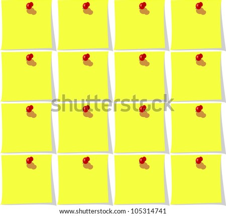 Seamless background with yellow paper and pin for office design. Jpeg version also available in gallery - stock vector