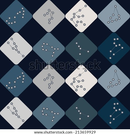 seamless background with zodiac constellations - stock vector