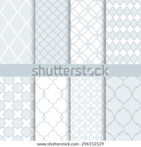 Seamless backgrounds collection. Set of tile and lattice patterns. - stock vector