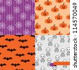 Seamless backgrounds of Halloween-related objects and creatures. - stock photo