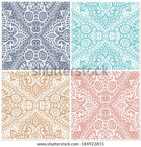 Seamless backgrounds set, retro geometric ornament, lace pattern, abstract decoration, design elements collection, hand-drawn artwork, sketch, vector illustration - stock vector