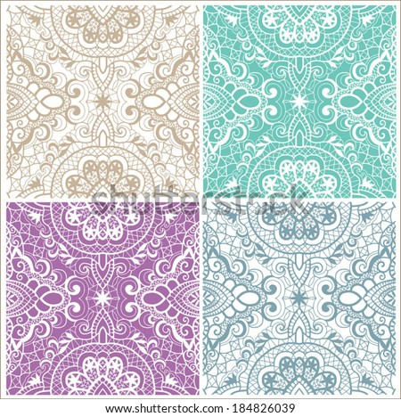 Seamless backgrounds set, retro geometric ornament, vector lace pattern, colorful abstract decoration, design elements collection - stock vector
