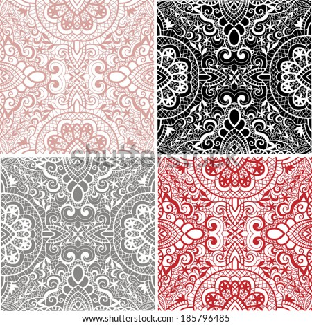 Seamless backgrounds set, retro geometric ornament, vector lace pattern, colorful abstract decoration, design elements collection, hand-drawn artwork - stock vector