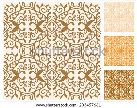 Seamless backgrounds set, retro geometric ornament, vector lace pattern, colorful abstract decoration, design elements collection