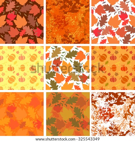 Seamless backgrounds with autumn leaves and pumpkins on orange backgrounds. Vector illustration - stock vector
