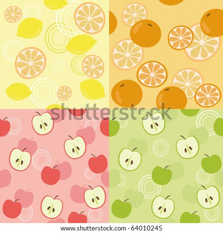 Seamless backgrounds with fruits - stock vector
