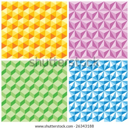Seamless backgrounds with various pseudo-3d figures. Seamless vector pattern. - stock vector