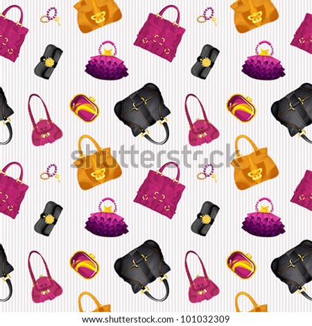 Seamless bags pattern, made of different styles female handbags. - stock vector