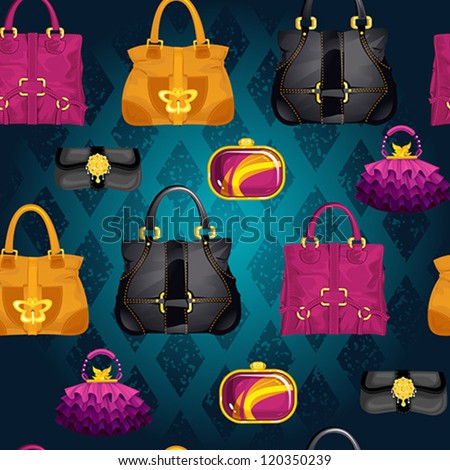 Seamless bags vector pattern, made of different styles female handbags. - stock vector