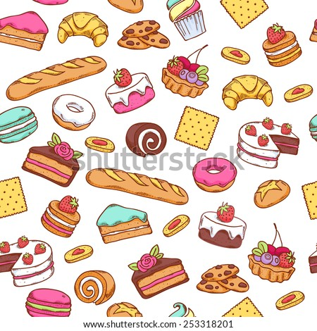 Seamless baked sweet food pattern. Cake, cookie, bread, donut background. White back. - stock vector