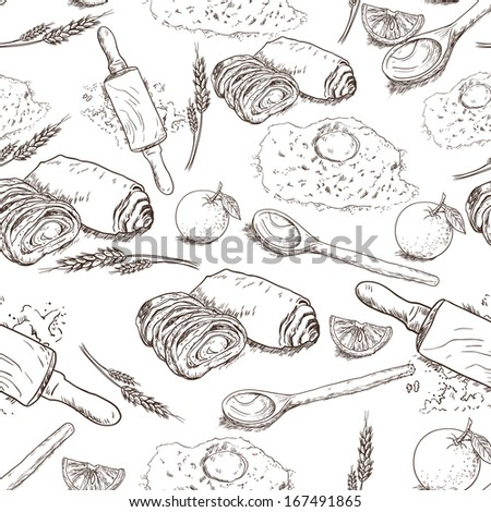 Seamless Bakery background with bread. flour, eggs and orange Bread sketches in vintage style - stock vector