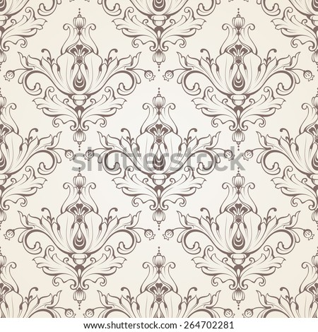 Seamless baroque pattern. Ornamental background with pattern - stock vector