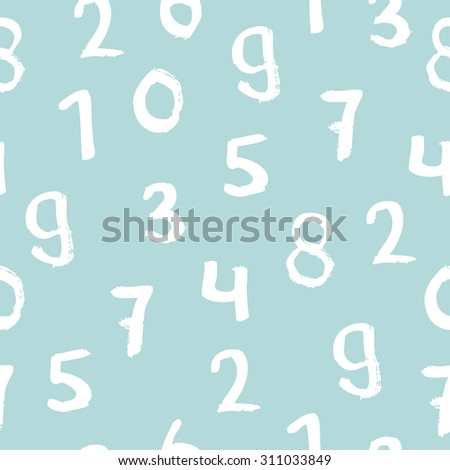 Seamless basic numbers back to school math theme for kids ink illustration background pattern in vector - stock vector