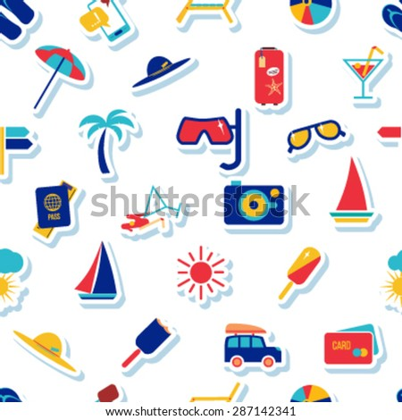 Seamless beach vacation pattern. Background for you  a summer vacation design. Icons on a white background with a stroke. - stock vector