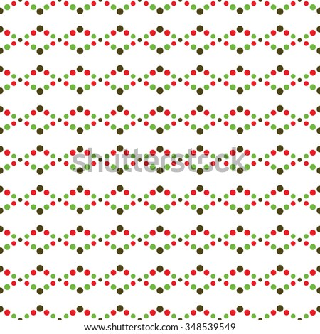 Seamless beads pattern. Seamless red and green circle pattern. Abstract Vector Background. Seamless Christmas Pattern. New year background. Zigzag Pattern. Geometric Pattern. Vector Regular Texture. - stock vector