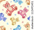Seamless bear light patchwork pattern. Vector cartoon background. - stock vector