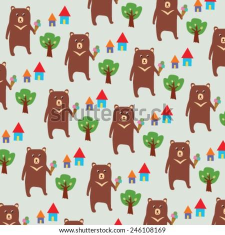 Seamless Bear Pattern - stock vector