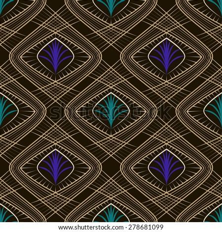 Seamless beautiful art deco pattern ornament. Geometric background design. Vector repeating texture. - stock vector