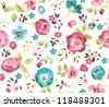 seamless beautiful flower pattern background - stock vector