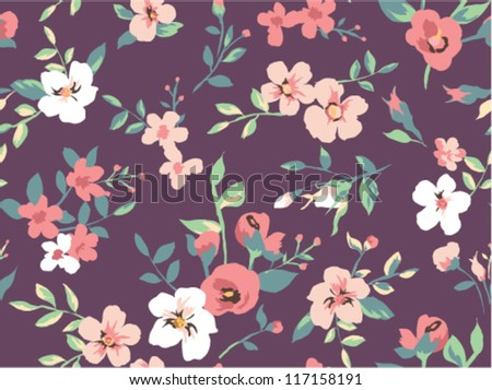 seamless beautiful flower pattern pattern background - stock vector
