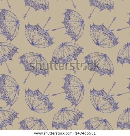 Seamless Beautiful retro Background with umbrella, Vector - stock vector