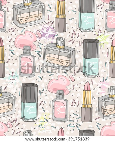 Seamless beauty pattern with make up, perfume, nail polish. Background for girls or women.