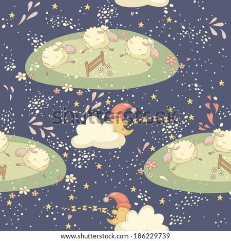 Seamless bedtime pattern with a cute sheep and the sleepy moon. EPS 10. No transparency. No gradients. - stock vector