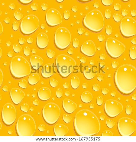 Seamless beer foam background with drops. vector - stock vector
