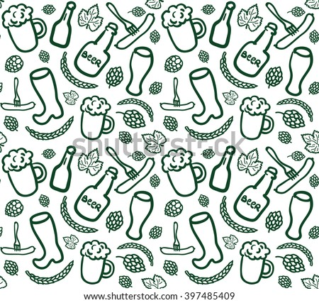 Seamless beer pattern with bottles, cups, glasses, sausages, hop cones and ears of wheat in sketch style. Vector background with simple beery doodles. EPS 10 ilustration. - stock vector