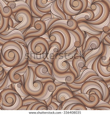 Seamless beige abstract hand-drawn waves pattern, wavy background. Seamless pattern can be used for wallpaper, pattern fills, web page background,surface textures. - stock vector