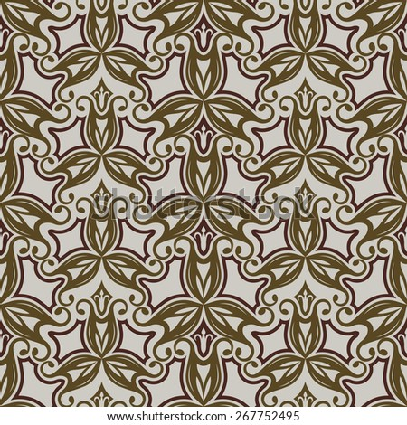 Seamless beige and brown vintage floral vector pattern. - stock vector